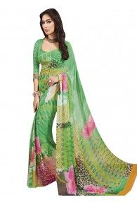 Admirable Green Color Georgette Saree by Vishal Prints