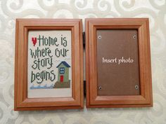 Home is Where Our Story Begins cross stitch photo frame