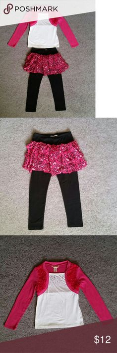 Belle du Jour Girl's Sets Gently worn. Attached vest/shrug. Attached ruffle skirt. Size Small.  Please see photos for more details.  Comes from pet free home. Belle Du Jour Matching Sets