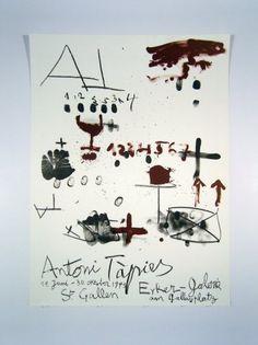 Original Künstler Plakat Tàpies Original Artist Poster Tàpies Affiche original Antoni Tàpies title Erker gallery St. Gallen  technology Original color lithograph