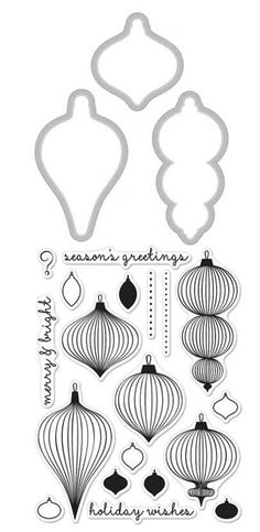 Hero Arts Stamp And Cuts ORNAMENTS Coordinating Set DC186 zoom image