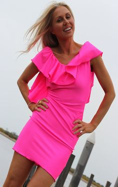 NEON PINK Low Open Back Ruffle Mini Dress By designer от JustynaG