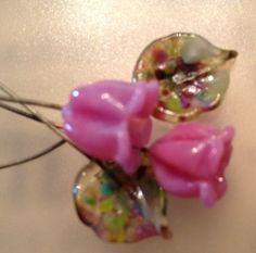 Handmade Lampwork Bell Flower Headpins With Fantasy by leazinke, $15.00