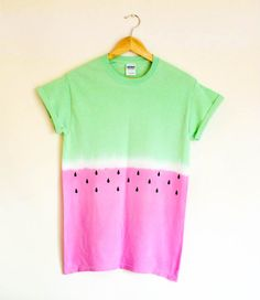Watermelon T-shirt Tie Dye Dip Dye Top Ombre Festival Summer Holiday Hipster 90's Grunge Tumblr Small + Medium + Large Pink / Green