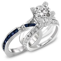 Wedding Ring Set Princess Cut