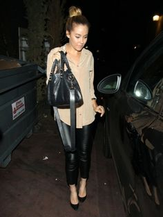 @LaurenConrad.com at  Aventine restaurant in Hollywood April 29 2013 // love the nude and black with the top knot!