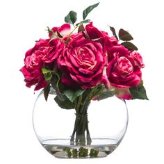 Pink Rose Faux Flower Arrangement in Fish Bowl Glass Vase