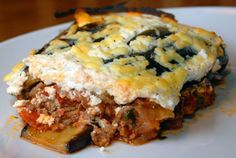 """Low Carb Moussaka - """"Moussaka is an aubergine - or egglant - based dish popular in the Eastern Mediterranean. Consisting mainly of vegetables and minced lamb, ( beef would work well too), it is almost low-carb in its traditional form. The only substitution we need to make is for the topping – traditionally, white or Béchamel sauce is used. Using ricotta cheese instead gets rid of the only high-carb ingredient!"""""""
