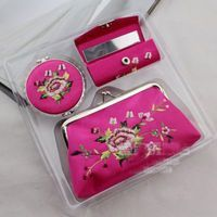 Metrical 3 Pcs Lipstick Case Retro Style Flower Print Lipstick Holder with Mirror for Purse