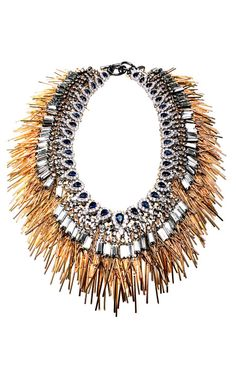 Plated Metal Fringe And Crystal Collar Necklace by Venna for Preorder on Moda Operandi