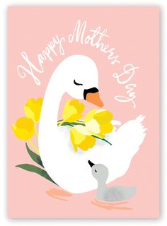 A loving mother and baby swan, & Mother& Day& message. Blank inside and supplied with a pink envelope. Card size 127 x Designed and printed in the UK. Mothers Day Cartoon, Mothers Day Drawings, Mothers Day Pictures, Mothers Day Cards, Mother Day Wishes, Happy Mother S Day, Baby Animal Drawings, Nature Prints, Kids Prints