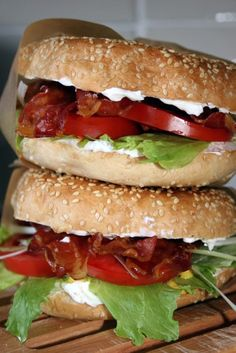 BLT Bagels Recipe. All you need is: 3 sesame bagels 6 tbsp philadelphia cream cheese 3 tsp German mustard 18 slices crispy pancetta 2 medium tomatoes (thinly sliced) 3 spring onions (finely sliced lengthways) black pepper #Easy #Lunch