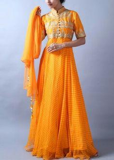 Yellow Georgette Anarkali Suit #shop #handcrafted #anarkali #suits #shop #vasansi #jaipur