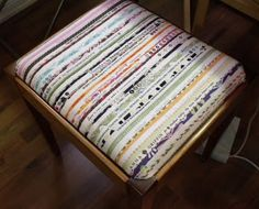 Treadle Quilts: Selvage Seat Cover  and other Selvage projects all sewed with treadle machines by Jacquis Quilts