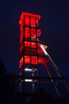 Chevalement de la Mine Dutemple, Valenciennes, France - Conception lumière Concepto - Photo Thomas Douvry