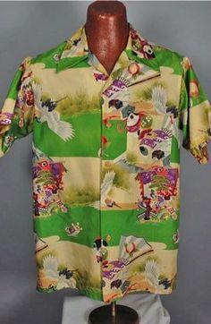 Japanese print late 1940s silk Hawaiian shirt.