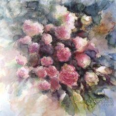 Les fleurs (Peinture),  50x50x2 cm par Fabienne Monestier Aquarelle et crayons aquarellables SUR TOILE.  J'aime évoquer la nature plutôt que la copier. Je peins la plupart du temps d'imagination.   Actuellement, mes préférences vont vers les techniques mixtes à l'eau : craies et crayons aquarellables, aquarelle, encres et acrylique sont mes médiums favoris. Comme j'utilise des crayons et que j'aime le graphisme dans la peinture, je peins sur des toiles spécialement apprêtées, fixées sur des…