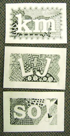 Collage - Zentangle with letter incorporation - might be a good for sub lesson