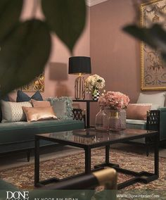 A small peek at this pink and dark green living room Instagram post by ديكور ايلقنت هوم • Feb 8, 2017 at 1:12pm UTC
