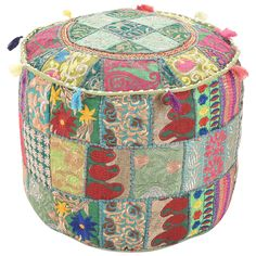 Indian Patchwork Round Ottoman Pouf Cover, Floor Cushion Cover, Cotton Fabric Embroidered Home Decor, Chic Pouf Cover, Bean Bag Sitting Pouf Ottoman Cover, Pouf Ottoman, Upholstered Ottoman, Bohemian Decor, Boho, Floor Seating Cushions, Floor Pillows, Green Ottoman, Turquoise Cushions