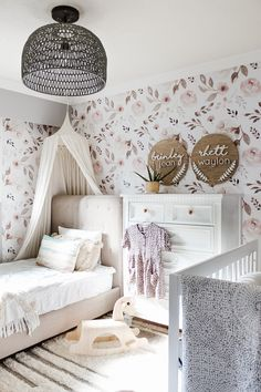 This little girls bedroom features our Desert Rose Wallpaper from our new Sahara Collection! Bedroom design by: Girl Bedroom Designs, Girls Bedroom Decorating, Girls Room Design, Bedroom Ideas, Up House, Little Girl Rooms, Decoration, Room Inspiration, Desert Rose