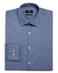 125.00$  Watch here - http://vijvd.justgood.pw/vig/item.php?t=oxi5lb32603 - BOSS Chambray Solid Sharp Fit – Regular Fit Dress Shirt