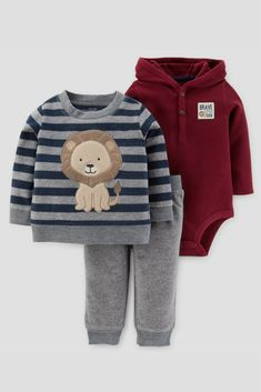 Baby Boy 3 piece striped lion set - this outfit looks so cute and cozy for winter for a little boy! #ad #babyboy
