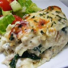 White Cheese Chicken Lasagna | Could also substitute broccoli for spinach.