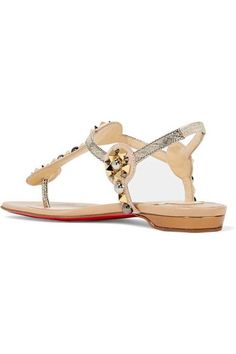 Christian Louboutin - Kaleifra Spiked Suede And Lamé Sandals - Gold - IT37.5