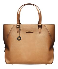 DKNY - Saffiano Leather With Large Zip Tote - Camel
