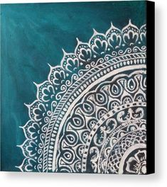 Mandala Canvas Print featuring the painting Jade Mandala by Jennie Hallbrown