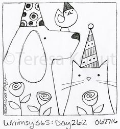 whimsy 365 day 262 062716 Rug Hooking Designs, Rug Hooking Patterns, Embroidery Patterns, Hand Embroidery, Anni Downs, Bee Creative, Punch Needle Patterns, Doodles, Art Drawings For Kids