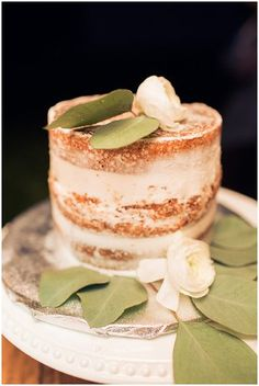 Naked cake with leaves | Sarah Renee Studios | see more at http://fabyoubliss.com