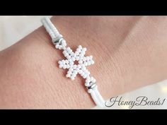 Easy beading tutorial, 'Frosty Lace', Snowflake Bracelet, Christmas beading, by - YouTub Beaded Bracelets Tutorial, Handmade Bracelets, Seed Bead Jewelry, Beaded Jewelry, Easy Beading Tutorials, Star Pendant, Christmas Jewelry, Beads, Beaded Snowflake