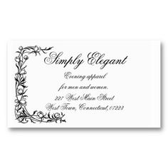 B  W Floral Border Business Cards