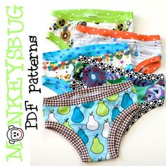 Knit Hipster or Bikini Briefs for Girls Downloadable Sewing Pattern by MonkeysBug $
