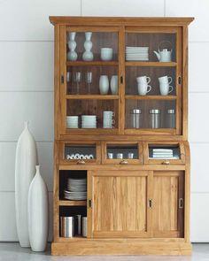 Solid teak china cabinet W Diy Furniture Plans, Recycled Furniture, Furniture Decor, Kitchen Cupboard Handles, Kitchen Dresser, Crockery Cabinet, China Cabinet, Sofa Bed Design, Bookshelf Design