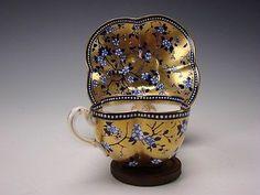 Antique Aesthetic Movement porcelain gilt cup and saucer set by Coalport, England 1870 Blue Gold, Cobalt Blue, Antique Tea Cups, Vintage Teacups, Cafetiere, Porcelain Ceramics, Porcelain Dinnerware, Teapots And Cups, Tea Service