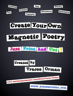 Magnetic Poetry - Make Your Own Magnetic Chance Dada Poetry - Perfect for interactive notebooks! Library Activities, Activities For Teens, Teaching Activities, Teaching Resources, Poetry Activities, Teaching Ideas, My Poetry, Teen Programs, Texts
