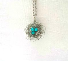 Turquoise Robin's Egg Silver Wire Crochet by DesignsbyNatureGems, $48.00