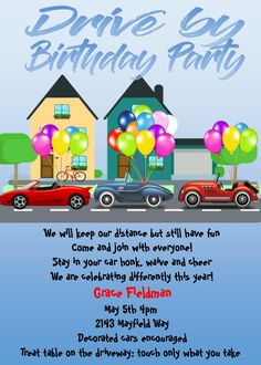 Drive by nieghborhood Birthday Party Invitations social distancing 90th Birthday Parties, 2nd Birthday, Birthday Ideas, Husband Birthday, Birthday Crafts, Teenager Birthday, Tea Party Invitations, Just In Case, Candy Posters
