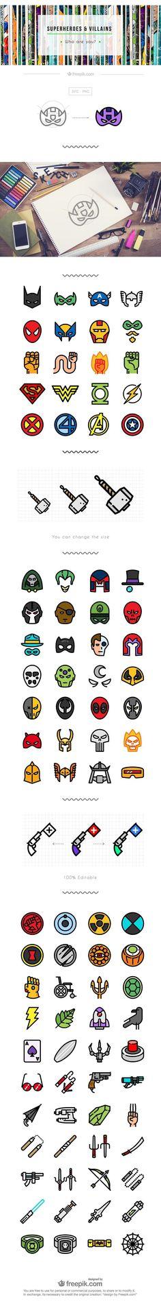Superhero icon set flat free
