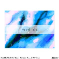 Blue Marble Outer Space Abstract Background Thanks Postcard