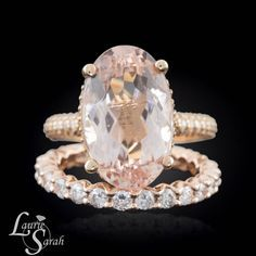 This Peach Morganite Engagement Ring is a 7 Carat Engagement Ring that will leave everybody speechless! With a Diamond Halo and Filigree