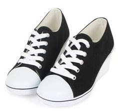 SHARIA comfortable Women Cheap Wedge Heels Laces Sneakers Shoes for Girls Blacks