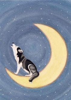 Siberian husky howling on the moon / Lynch signed folk art print. $12.99, via Etsy.