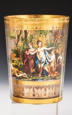 Zwischengoldbecher  . Josef Pohl, Haida, Anfang 20. Jahrhundert Bohemia Glass, Joseph, Glass Art, Swarovski, Gold, Bohemian, Ceramics, Crystals, Antiques