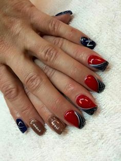 I'm a huge Patriots fan and I had these done to show my Pat's pride as they played and won the SUPER BOWL Football Nail Designs, Football Nail Art, Patriots Football, Pirate Nail Art, Pirate Nails, Colorful Nail Designs, Nail Art Designs, Sports Nail Art, Patriotic Nails