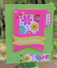 Sunshine - Scrapbook.com - Bright happy colors on this handmade card!