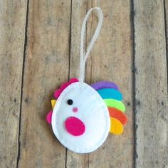 Felt Chicken Ornament by PaisleyMoose on Etsy
